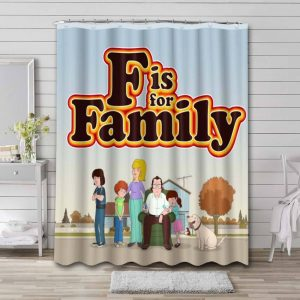 F Is for Family Waterproof Bathroom Shower Curtain