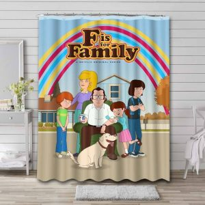 F Is for Family Bathroom Curtain Shower Waterproof
