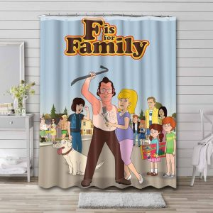 F Is for Family Waterproof Curtain Bathroom Shower