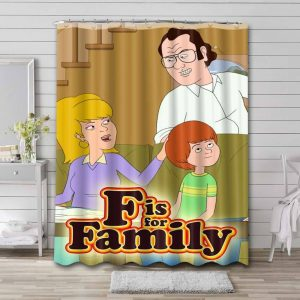 F Is for Family Shower Curtain Bathroom Decoration Waterproof Polyester Fabric.