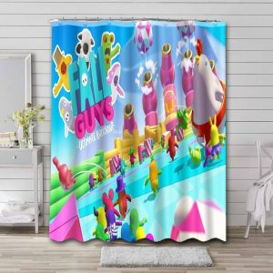 Fall Guys: Ultimate Knockout Shower Curtain Bathroom Waterproof