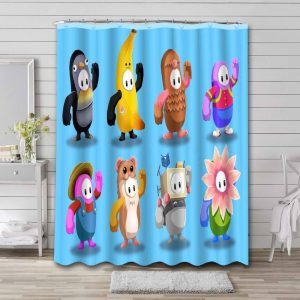 Fall Guys: Ultimate Knockout Characters Shower Curtain Waterproof Polyester