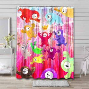Fall Guys: Ultimate Knockout Characters Shower Curtain Bathroom Waterproof