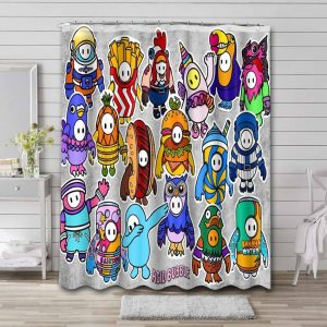 Fall Guys: Ultimate Knockout Characters Waterproof Shower Curtain Bathroom