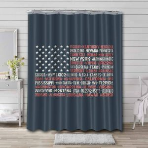 America Flag Shower Curtain Waterproof Polyester