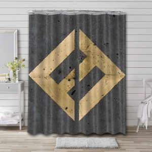 Foo Fighters Concrete and Gold Bathroom Curtain Shower Waterproof