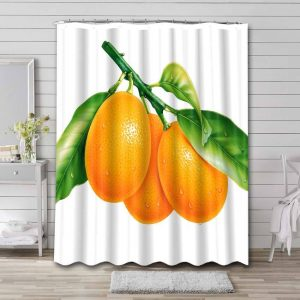 Oranges Fruits Shower Curtain Waterproof Polyester
