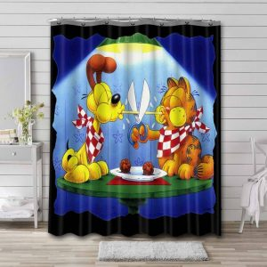 Garfield and Friends All Characters Bathroom Curtain Shower Waterproof