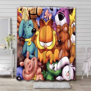 Garfield and Friends Characters Shower Curtain Waterproof Polyester