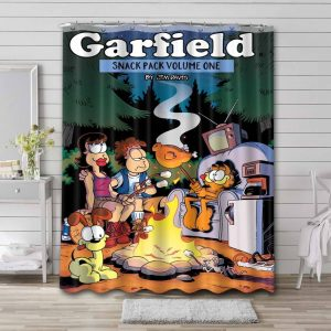 Garfield and Friends Camping Shower Curtain Bathroom Decoration