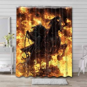 Ghost Rider Shower Curtain Bathroom Decoration Waterproof Polyester Fabric.