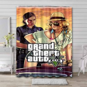 Grand Theft Auto V Game Bathroom Curtain Shower Waterproof