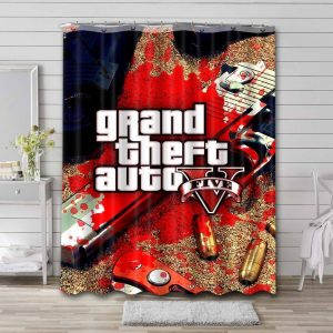 Grand Theft Auto V Shower Curtain Waterproof Polyester