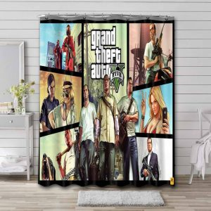 Grand Theft Auto Shower Curtain Waterproof Polyester