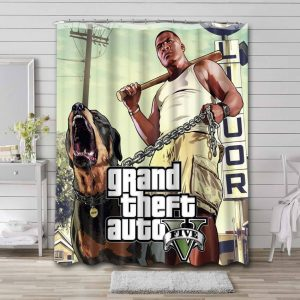 Grand Theft Auto V Game Waterproof Shower Curtain Bathroom