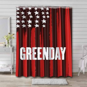 Green Day American Flag Shower Curtain Waterproof Polyester