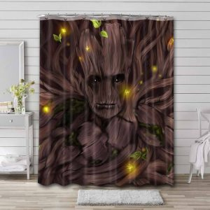 Groot Guardian Of The Galaxy Shower Curtain Waterproof Polyester
