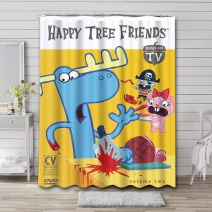 Happy Tree Friends Characters Shower Curtain Bathroom Decoration