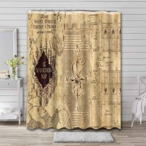Harry Potter Marauders Map Shower Curtain Waterproof Polyester