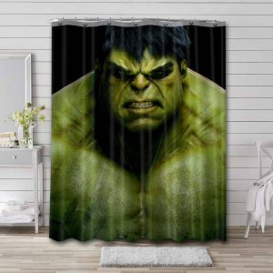 The Hulk Angry Face Shower Curtain Waterproof Polyester