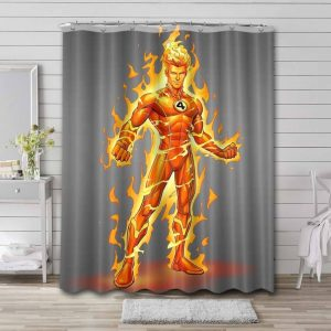 Human Torch Fantastic 4 Shower Curtain Waterproof Polyester