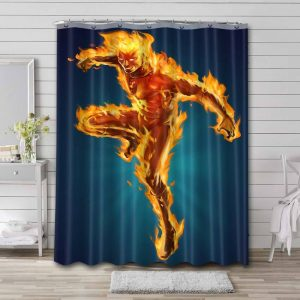 Human Torch Shower Curtain Bathroom Decoration Waterproof Polyester Fabric.