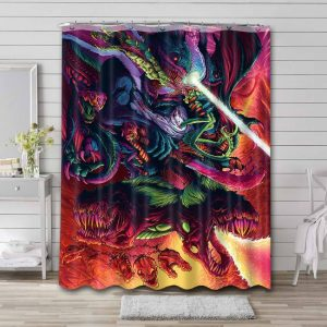 Hyper Beast Unleashed from the Fire Shower Curtain Bathroom Decoration