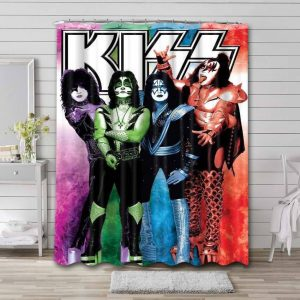 Kiss Rock Band Shower Curtain Waterproof Polyester