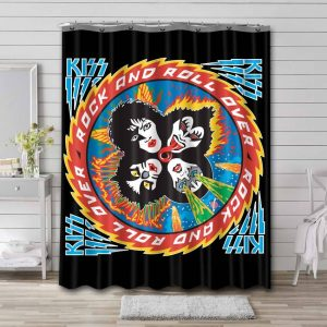Kiss Rock and Roll Over Waterproof Curtain Bathroom Shower