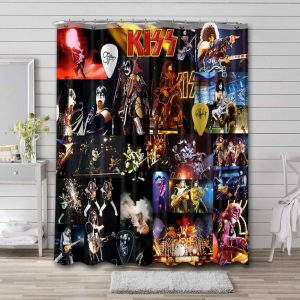Kiss Albums Shower Curtain Waterproof Polyester