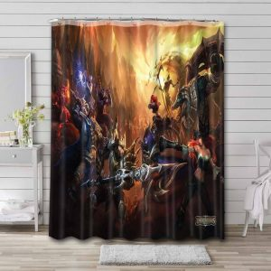 League of Legends Game Characters Bathroom Shower Curtain Waterproof