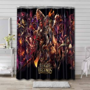 League of Legends Game Characters Bathroom Curtain Shower Waterproof
