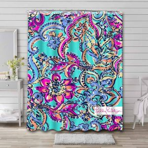 Lilly Pulitzer Bait And Switch Waterproof Shower Curtain Bathroom