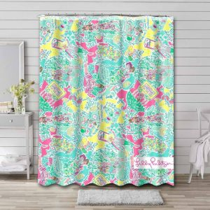 Lilly Pulitzer In The Beginning Bathroom Curtain Shower Waterproof