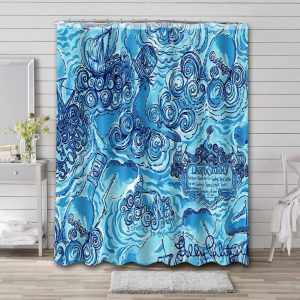 Lilly Pulitzer Dark And Stormy Waterproof Curtain Bathroom Shower