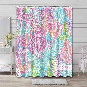 Lilly Pulitzer Let's Cha Cha! Shower Curtain Bathroom Waterproof