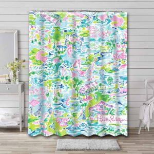 Lilly Pulitzer Village Palm Shower Curtain Waterproof Polyester