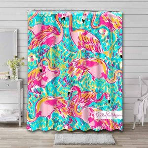 Lilly Pulitzer Peel And Eat Bathroom Shower Curtain Waterproof