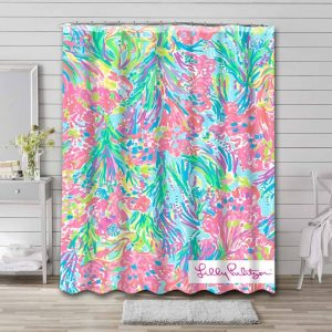 Lilly Pulitzer Palm Beach Coral Waterproof Shower Curtain Bathroom