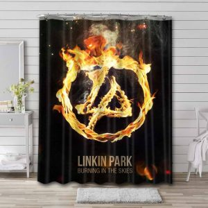 Linkin Park Burning In The Skies Shower Curtain Waterproof Polyester