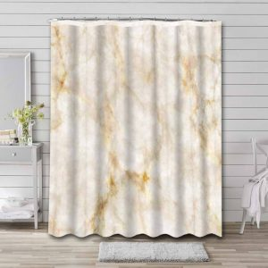 Marble Aesthetic Gold White Waterproof Shower Curtain Bathroom