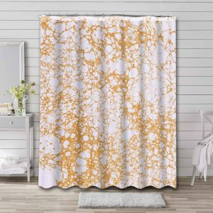 Marble Aesthetic Gold White Waterproof Bathroom Shower Curtain