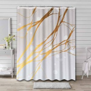 Marble Aesthetic Gold White Bathroom Curtain Shower Waterproof