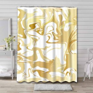 Marble Aesthetic Gold White Bathroom Shower Curtain Waterproof