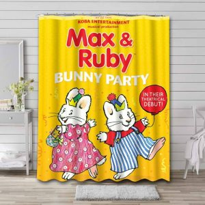 Max & Ruby Bunny Party Shower Curtain Bathroom Waterproof