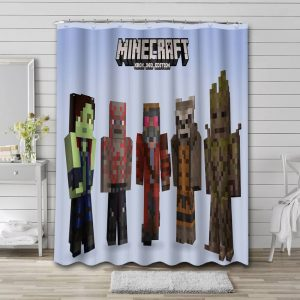 Minecraft Guardian Of The Galaxy Shower Curtain Waterproof Polyester