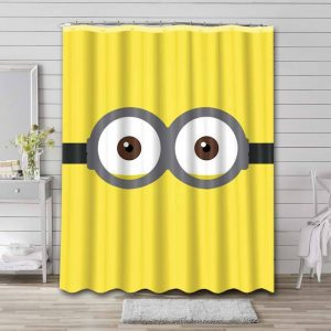 Minions Face Shower Curtain Waterproof Polyester