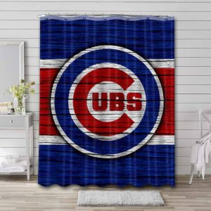 Chicago Cubs Baseball Shower Curtain Waterproof Polyester