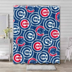 Chicago Cubs Patterns Shower Curtain Waterproof Polyester