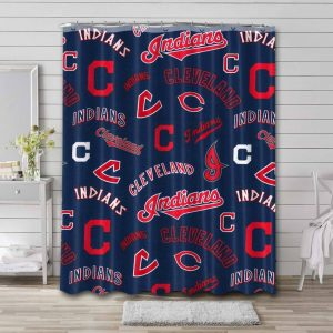 Cleveland Indians Logo Pattern Shower Curtain Waterproof Polyester